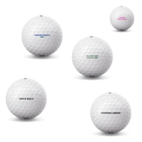 Golfbolde med tekst